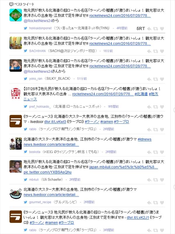 ラーメンの松喜Twitter祭り